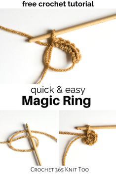 How to crochet a magic ring with Crochet 365 Knit Too! Super easy and fun! # magic circle crochet tutorial how to make How to Crochet a Magic Ring - Crochet 365 Knit Too Magic Circle Crochet, Magic Ring Crochet, Crochet Rings, Crochet Circles, Crochet Bunny, Crochet Round, Easy Crochet, Free Crochet, Crochet Basics