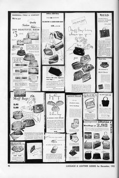 The hottest bags on offer at department store in December 1935 - muff bags, alligator & lizard, vanity handbags, epaulette bag, fold up opera bag, petit point