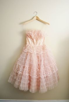Pink Willow Vintage 1950s Pale Light Pink Tulle Ruffle Lace Wedding Prom Dress | eBay