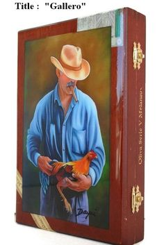 Oil Painting on Top Heavy Wooden Humidor Cigar Box.. Buy 1 get 2nd 20% Off