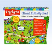 A giant activity pad for the car! Filled with matching puzzles, Hidden Pictures™ scenes, mazes, word searches, stickers and more.