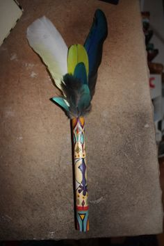 Smudge Fan /Talking Stick with painted Sikh Symbol by FairyFresh, $25.00