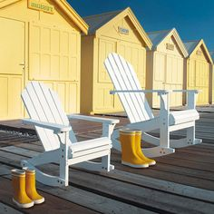 by a seaside cottage on Cape cod Adirondack Chairs, Outdoor Chairs, Outdoor Decor, Beach Cottages, Beach Huts, Beach Cottage Style, Maker, Beach Chairs, White Decor