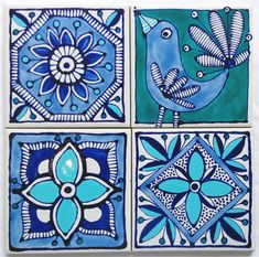 Hand Painted Ceramic Tile Coasters. Moroccan Inspired Design