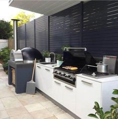 45 Exceptional Outdoor Kitchen Ideas and Designs to Makeover Your Home - Contemporary Modern Kitchen Ideas, Small Kitchen Renovation, DIY, Designblaz Modern Outdoor Kitchen, Outdoor Kitchen Bars, Backyard Kitchen, Contemporary Kitchen Diy, Small Outdoor Kitchens, Modern Outdoor Living, Kitchen Grill, Small Outdoor Spaces, Outdoor Areas