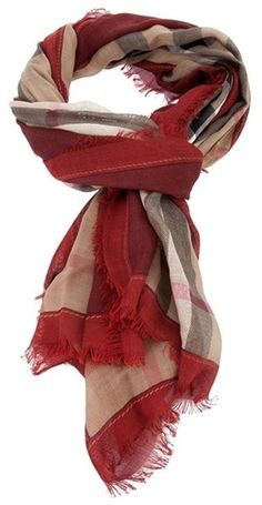 92452f7db413 Red   Tan Sheer Oversized Scarf - love this color combo Burberry Shop