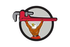 Bald Eagle Plumber Monkey Wrench Circle Cartoon Illustration of a american bald eagle plumber lifting giant monkey adjustable wrench over head looking up to the side set inside circle on isolated background done in cartoon style. #illustration #BaldEaglePlumberMonkey