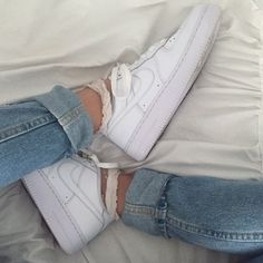 White Nike Air Force 1's They are definitely used, but still very cute and aesthetic, in good condition. Nike Shoes Sneakers