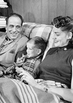 Humphrey Bogart, Lauren Bacall  Stephen Bogart at home, photographed by J. R. Eyerman, 1952.