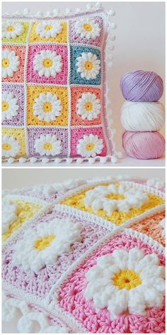 Crochet Granny Square Patterns Crochet Daisy Granny Square Blanket - You are going to love this Crochet Daisy Granny Square Blanket Free Pattern and you can make so many gorgeous and colourful projects. Bag Crochet, Crochet Daisy, Cute Crochet, Crochet Crafts, Crochet Projects, Crotchet, Crochet Flower, Beautiful Crochet, Knitting Projects