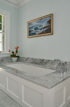 marble deck, undermount tub