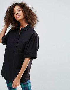 #ASOS - #Monki Monki Cotton Shirt - Black - AdoreWe.com