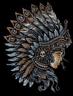 Mayan Princess - Secret Artist by Derrick Castle Arte Lowrider, Mayan Tattoos, Native Tattoos, Aztec Warrior, Princess Tattoo, American Tattoos, Aztec Art, Chicano Art, Mexican Art