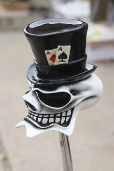 "HouseOspeed - Hot Rod Shift Knob - McPhail ""Top Hat"" Gambling Ghost Skull Shift Knob, $78.00 (http://www.hotrodshiftknob.com/mcphail-top-hat-gambling-ghost-skull-shift-knob/)"
