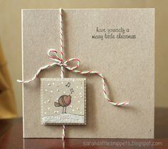 handmade card ... light kraft .. inchie focal point on square card ... adorable bird ... from Sarah's Little Snippets ...