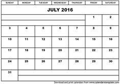 July 2016 Calendar Full Page