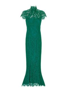 *PLEASE NOTE* The Elvira Gown in Emerald is made from a stretch-fitted, corded lace as per the swatch image. This elegant style has a scalloped-lace jewel neckl Scalloped Lace, Fitted Bodice, Cap Sleeves, Swatch, Gowns, Elegant, Formal Dresses, Beautiful, Collection