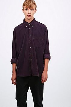 Urban Renewal Vintage Customised Cord Shirt in Burgundy - Urban Outfitters