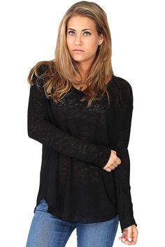 Black Long Sleeve Linen Slub at Blush Boutique Miami - ShopBlush.com