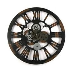 Horloge Murale Ronde Style Industriel en Métal Noir Vieilli
