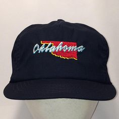 45c78ab0 Vintage Hats Navy Blue Baseball Cap Oklahoma Snapback Hat Fishing Hat Caps  For Men Made In USA Unstructured Lightweight Dad Hat T112 MA8140