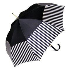 Pasotti Italian Umbrella - Black with Cream Stripe