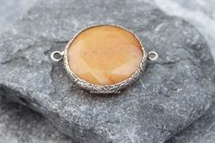 peach jade connector 40mm faceted round coin link gemstone station silver plated turkish supplies by madameperlina on Etsy