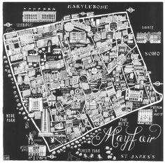 Caroline Harper. Hand-drawn maps | Mayfair print