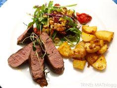 Lammefilet med sennepsbakte poteter og olivensalat | TRINEs MATblogg