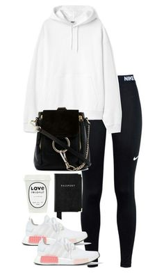 A fashion look from January 2018 featuring white top, NIKE and white shoes. Browse and shop related looks. Casual School Outfits, Lazy Day Outfits, Cute Comfy Outfits, Sporty Outfits, Athletic Outfits, Outfits For Teens, Stylish Outfits, Summer Outfits, Girl Outfits