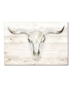 August Grove 'Cow Skull' Graphic Art Print Frame Colour: Wrapped Canvas, Size: H x W x D Painting Prints, Art Prints, Framed Prints, Canvas Prints, Whitewash Wood, Cow Skull, Wood Background, Canvas Frame, Canvas Size