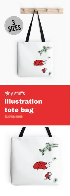 Baby Red Cute Ladybug Doodle   Girly stuffs Daily Lifestyle Illustration Tote Bag  Great gift ideas for women  (Also available in mugs, cups, shirts, duvet covers, acrylic block, purse,   wallet, iphone cases, baby onsies, clocks, Throw pillows, samsung cases   and pencil skirts.)  #Doodle #Illustration #Teens #WomenFashion #Giftideas #Present   #Grandma #Mom #Pouches #DrawstringBags #Holiday   #Holidaygifts #Lisaliza  #Womenfashion   #Teepublic #Redbubble #Bestfriend