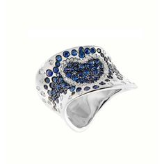 King Jewelers Free-Form Sapphire & Diamond Heart Ring C0326427.  This ring is made of 18 karat white gold and features a wide slanted band pave set with round-cut blue sapphire and diamonds in the shape of a heart. Total diamond weight is 0.39 carats.