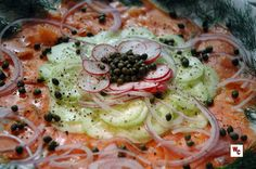 Thin slices of smoked salmon, cucumber, radish, and red onion, with capers and dill create the perfect combination of toppings for a toasted bagel with a smear of cream cheese. An explosion of flav...