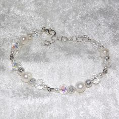 Bracelet  Moon Pearl  Gemstone and Glass  Free UK by KasumiCrafts