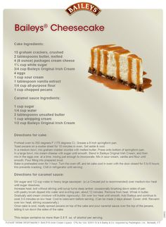 Bailey's Cheesecake - wonder if this will actually taste like the kind I used to have in Ireland