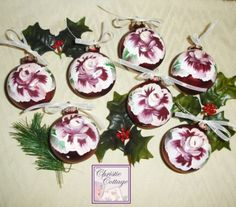 Hand Painted Red Glass Christmas Ornament, Roses Details Beautiful hand painted glass Christmas ornaments. Sold individually.  2.5