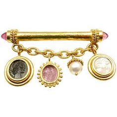 Elizabeth Locke Intaglio Tourmaline Charm Yellow Gold Pin Brooch
