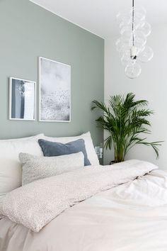 Neutral, minimalist bedroom decor with white bedding and light green walls, # . - Neutral, minimalist bedroom decor with white bedding and light green walls, # bedding - Home Decor Bedroom, Best Bedroom Paint Colors, Bedroom Inspirations, Home Bedroom, Bedroom Interior, Bedroom Green, Bedroom Wall Colors, Home Decor, Minimal Bedroom