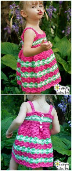 Crochet Garden Party Baby Dress Free Pattern - Girl #Dress Free #Crochet Patterns