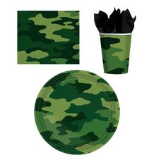 "Here is a great camo set for your themed party. Set includes: 8 - 9"" Paper Plates 8 - 9oz. Paper Cups 16 - 6.5"" Napkins"