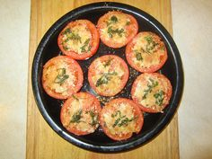 Whole Tomato, Sliced in halves-- Fresh Parmesan Cheese, Fresh Basil, and Olive Oil- Cooked on Xtrema