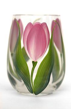 Pink Tulips Stemless Wine Glass