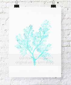 Sea Fern in Turquoise Watercolor Art Print 8x10 - Sea Life Wall Art in Turquoise via Etsy