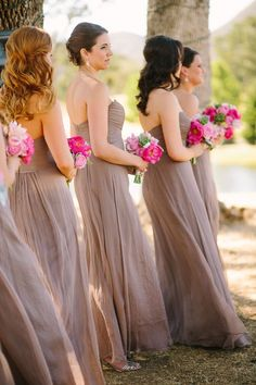 taupe bridesmaids' gowns