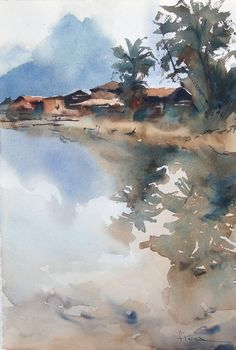 Escena típica en Vietnam Watercolor Artists, Watercolor Techniques, Watercolor Landscape, Watercolor And Ink, Abstract Landscape, Landscape Paintings, Landscapes, Amazing Drawings, Urban Sketching