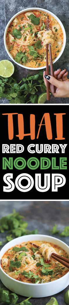 Thai Red Curry Noodle Soup - Yes, you can have Thai takeout right at home! This soup is packed with so much flavor with bites of tender chicken, rice noodles, cilantro, basil and lime juice! Soup Recipes, Chicken Recipes, Dinner Recipes, Cooking Recipes, Recipies, Curry Noodles, Rice Noodles, Garlic Noodles, Asian Recipes