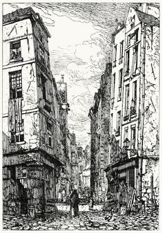 An etching by Maxime Lalanne. From Etching and. Saint Chapelle, Rockwell Kent, Ile Saint Louis, Art Watch, Ink Pen Drawings, Gravure, Pencil Art, Line Drawing, Old Houses