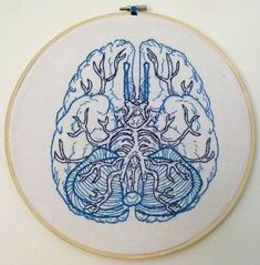 Anatomical Embroidery, Anatomical Brain, Cross Stitch Anatomical, Brain Embroidery, Ash Cornish, Crosses Stitches, Medical Cross Stitch, Cross Stitch Brain, ...