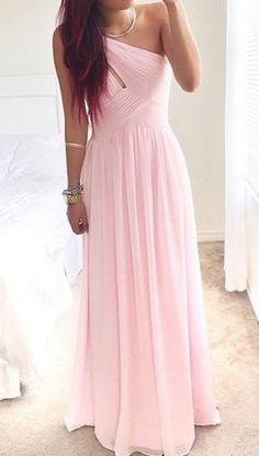 Sweetheart Pink One Shoulder Prom Dress